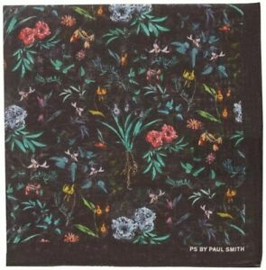 PAUL SMITH Men's Black Floral Cotton Pocket Square MADE IN ITALY *RARE* 💐