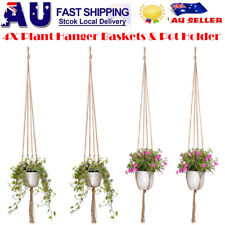 4x Vintage Macrame Plant Hanger Garden Flower Pot Holder Hanging Rope Basket  AU