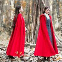 Vintage Womens Red Woolen Cashmere Full Length Hooded Cape Trench Coat Cloak