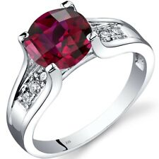 14K White Gold Created Ruby Diamond Cathedral Ring 2.50 Carat Size 7
