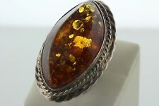 Marquise Shaped Beveled Amber Stone Sterling Silver 925 Ring - sz 4.5