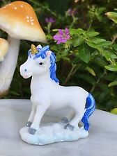 Miniature Dollhouse FAIRY GARDEN ~ Mini Standing Baby Unicorn White & Blue ~ NEW