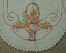 Vintage Table Linen Embroidered Cross Stitch Runner Basket Coral Flowers 11x38