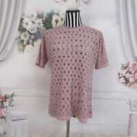 ASOS Pink Short Sleeve Polka Dot Holes Top Shirt
