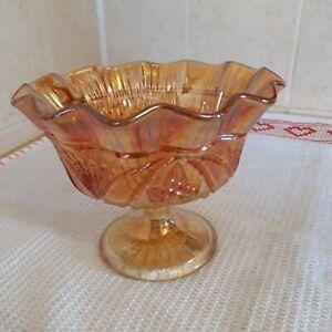 Carnival glass footed Bob Bon dish