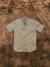 River Island short sleeve evening shirt in grey in size S -NEW
