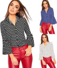 Collared Polka Dot Tops for Women