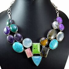 578ct Natural Semi Precious Multi Gemstone Silver Plated Necklace