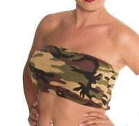 Ladies Army Printed Camouflage Boob Tube Bandeau Top Crazy Chick UK 10 & 12 NEW