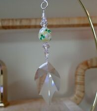 =^.^= Leaf Suncatcher made with 45mm Swarovski Prism Yellow Gr Wh Floral Logo