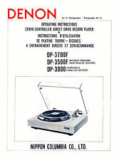 DENON DP-3000, DP-3500F and DP-3700F TURNTABLE OPERATING INSTRUCTIONS 24 Pages