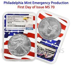2021 P - Philadelphia $1 American Silver Eagle NGC MS70 Emergency FDOI Flag Core