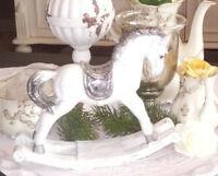 Schaukelpferd Weiß Silber Christmas  Weihnachten Advent Shabby Vintage Landhaus