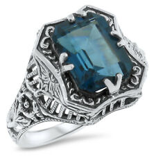 GENUINE LONDON BLUE TOPAZ ANTIQUE STYLE .925 STERLING SILVER RING,          #633
