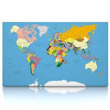 Weltkarte Classic, Leinwand Bild auf Keilrahmen, Poster, deutsch, politisch xxl