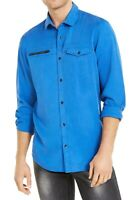 INC Mens Shirt Blue Bright Size Medium M Zip Pocket Todd Button Down $65 #246