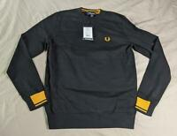 Fred Perry Men's Abstract Tipped Crew Neck Sweater SH3 Black Small NWT