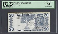 Sierra Leon One Leone 24-8-1982 P14p Essay Face Proof Uncirculated