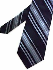 "Merona Men's Silk Striped Classic Neck Tie Black Gray Wide 3 7/8"" x 58"""