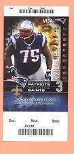 Saints @ New England Patriots 2013 ticket stub Vince Wilfork photo Tom Brady   B