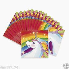16 Girls Birthday Everyday Party UNICORN Pony Rainbow Paper BEVERAGE NAPKINS