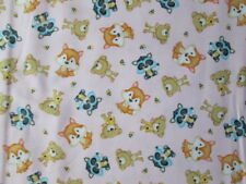FOX BEES FOXES BEARS RACOONS PINK COTTON FABRIC BTHY