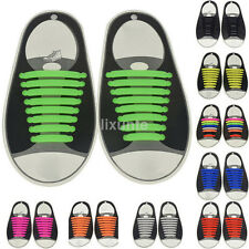 16PCS Colorful No Tie Shoelaces Rubber Silicone Slip Easy Sneaker Shoe Laces New