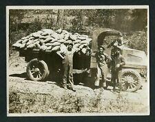Vintage Photo 3 Men w/ Loaded 1920 Mack Dump Truck 406115