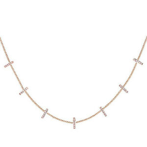 1/8 Ct Round Cut Simulated Diamond 14K Rose Gold  Over Silver Base Bar Pendant