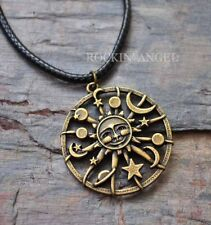 Vintage Bronce PL celestial Sun Moon Stars Planeta Colgante Collar Pagano Wicca