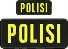 POLISI EMBROIDERY PATCHES 4X10 &2X5 hook on back blk/yellow