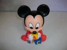 """1984 SHELCORE Walt Disney Baby Mickey Mouse Squeeze Squeak Toy ABC 6 3/4"""""""