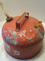 Eagle Galvanized Red Gas Can 2.5 Gal rusty dented scratched man cave collectible