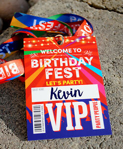 BIRTHDAYFEST Birthday Party VIP Pass Lanyards Favours ~ Festival Party Favours