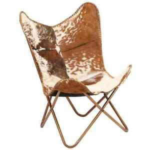 Leather Butterfly Chair Brown and White Genuine Goat Real leather Cover Arm Chai