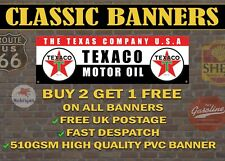 Classic Texaco Motor Oil Gas Retro Style Banner for Garage / Sign
