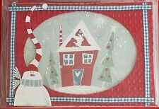 16 Handmade 3-D Christmas Holiday New Years cards snowman sequin red green