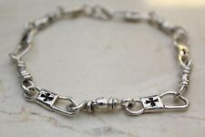 ACTS Sterling Silver Fishers Of Men Bracelet with Maltese Cross 7.5 Inches
