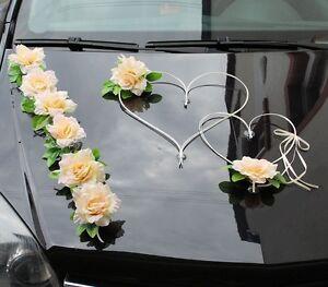 Brautauto Hochzeitsauto Autoschmuck Autodeko Rosen 2Herzen creme/rosa