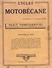 Velo Cycles Motobécane 4 pages tarifs de toutes les bicyclettes tacot 1934