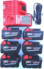 (6) New 18V Milwaukee 48-11-1850 5.0 AH Batteries, (1) Charger,  M18 18 Volt Red