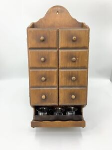 Antique Wall Hanging Spices Cabinet With Stainless VOLLRATH Creamers, Copper Try