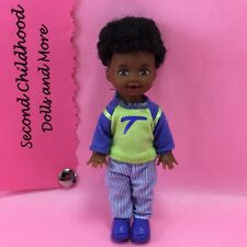 "Barbie KELLY AA TOMMY Afro Blue Green Outfit Shoes 4"" Baby Brother Boy Doll B205"