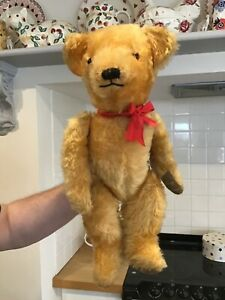 Antique vintage Bear,1950s Chiltern mohair toy teddy bear,21 inch.