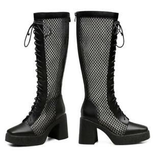 Women Punk Square Toe Zipper Block Heel Knee High Knight Boots Sandals Cowboy L