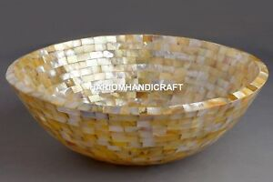 """15"""" Round Golden Mother of Pearl Wash Basin Inlaid Mosaic Outdoor Sink Arts E298"""