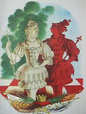 ANTIQUE PRINT C1950S ALICE IN WONDERLAND LEWIS CARROLL RED QUEEN & WHITE QUEEN