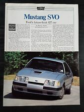 1984 Ford Mustang SVO - 5 Page Article - Free Shipping