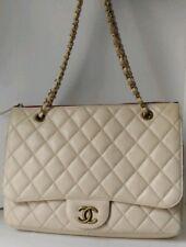 Chanel Light Beige Calfskin Zip Top Blizzard Maxi Flap Bag