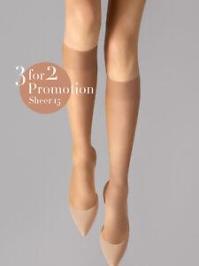 WOLFORD 3 for 2 Promotion Pack Sheer 15 DEN Knee-High Socks Size M Lightweight